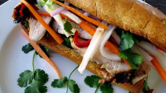 Five-spice Tofu Banh Mi- freeze, thaw, and press tofu to replace chix. Soy sauce or fish sauce. I like to add basil, but I'm crazy like that.