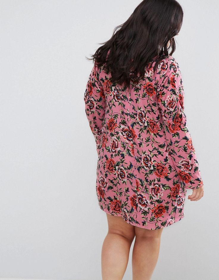 ASOS CURVE Floral Shift Dress with Ruched Sleeve - Multi