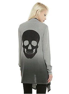 <p>This grey ombre flyaway cardigan has a glittery black skull on the back. Super comfy and super cute at the same time? We love it!</p>  <ul> <li>87% polyester; 10% rayon; 3% spandex</li> <li>Wash cold; dry low</li> <li>Imported</li> <li>Listed in junior sizes</li> </ul>