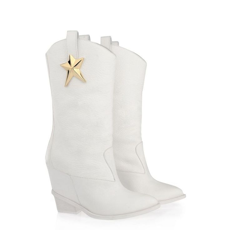 (102.38$)  Watch here  - New arrival mid-calf pointed high increasing height heel gold star decorated high quality leather elegant white boots for woman