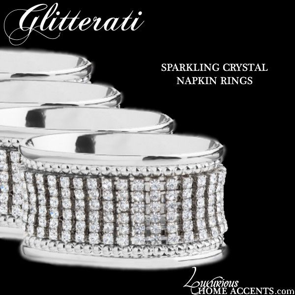 Luxurious Wedding Accessories | Champagne Flutes | Cake Sets — Glitterati Silver Sparkling Crystal Napkin Rings