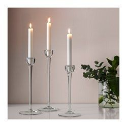 IKEA - BLOMSTER, Candlestick, set of 3, Mouth blown; each candle holder is shaped by a skilled craftsman.