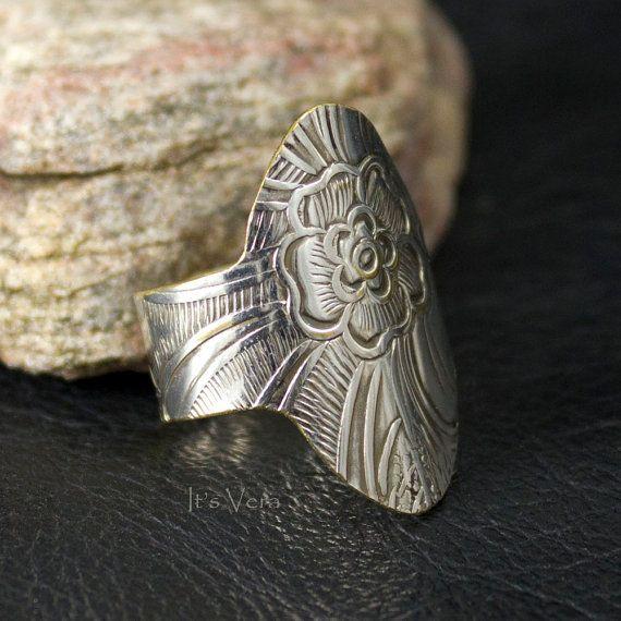 Eco-vriendelijke gemengde metal ring,verklaring diner ring groot formaat,trendy ring van vintage zilveren,handgemaakte ambachtelijke ringen