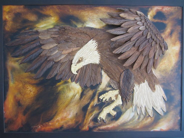 Our eagle took 4 months and has different types of wood. Dimension: 118 * 86