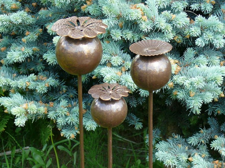 """Купить """"Маки- садовые украшения"""" - 3шт, металлические штучки для гурманов. - коричневый, украшение для интерьера, металл"""