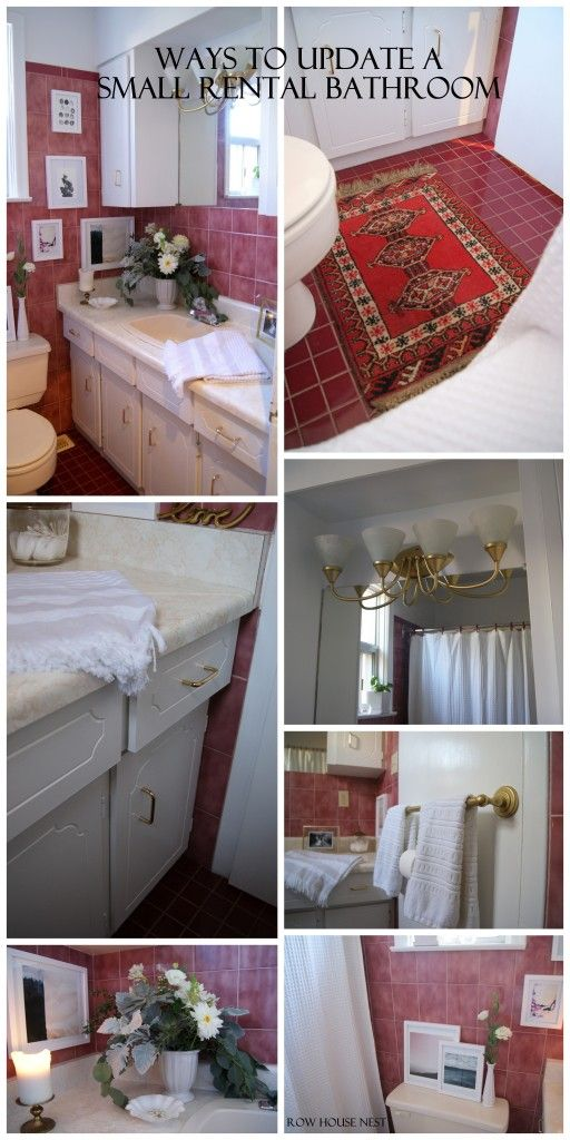 Ways to update a small rental bathroom - paint, switching out the handles and updating existing fixtures! Textiles had texture and colour