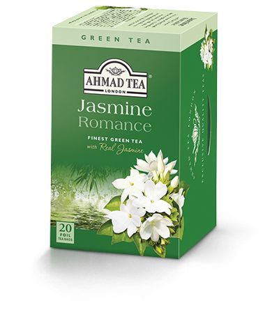 "Jasmine Romance from Ahmad Tea is a green tea with Jasmine flower.   The described origin is ""China's Golden Triangle, between the Jiangxi / Anhui / Zhejiang province.""  The nose and taste are strong floral jasmine, not really sure what the ""romance"" part of it is.  It started off a bit delicate but some extra steeping got some nice bitterness out of the tea.  Pretty good, jasmine tea seems to be very soothing to the stomach."