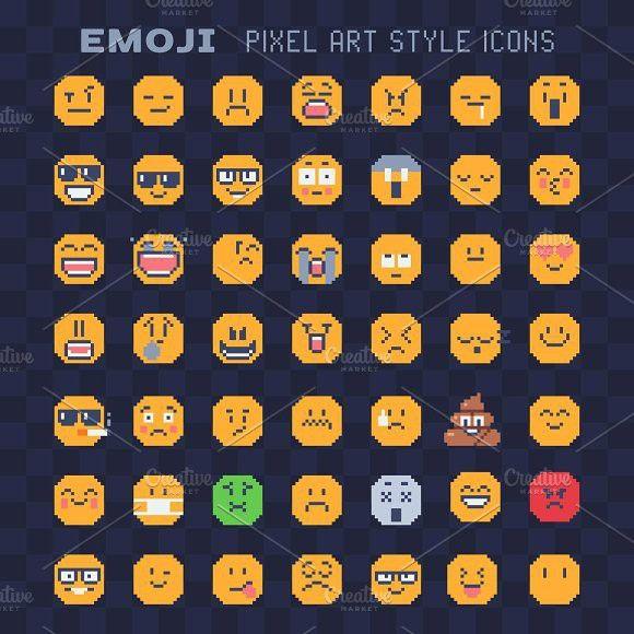 Emoji Pixel Art Icons Set Pixel Art Art Icon Pixel