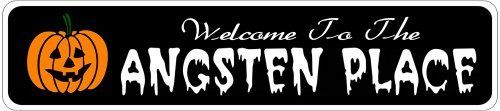 ANGSTEN PLACE Lastname Halloween Sign - Welcome to Scary Decor, Autumn, Aluminum - 4 x 18 Inches by The Lizton Sign Shop. $12.99. 4 x 18 Inches. Great Gift Idea. Rounded Corners. Aluminum Brand New Sign. Predrillied for Hanging. ANGSTEN PLACE Lastname Halloween Sign - Welcome to Scary Decor, Autumn, Aluminum 4 x 18 Inches - Aluminum personalized brand new sign for your Autumn and Halloween Decor. Made of aluminum and high quality lettering and graphics. Made to las...