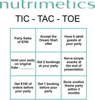 Nutrimetics ideal party tic-tac-toe