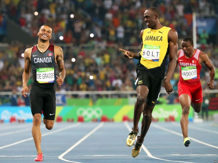 Usain Bolt after winning men's 200 meter semifinals - Olympic Games, Rio de Janeiro