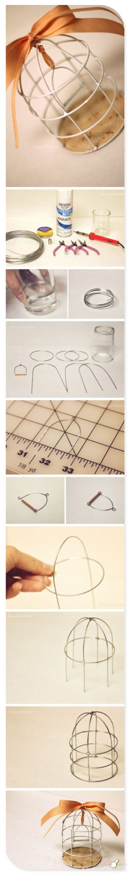 How to make small birdcages with wire! So cute for tealight holders or maybe a chandelier!