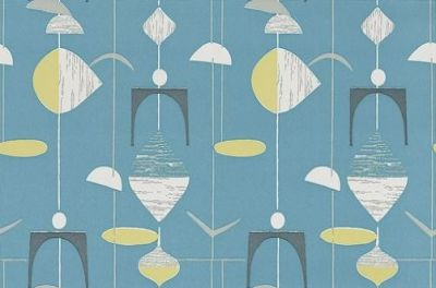 Mobiles (210215) - Sanderson Wallpapers - A classic design of random mobile shapes in bold colour combinations. Shown in lime on slate blue with white highlights. Other colourways available. Please request sample for true colour match. Wide width.