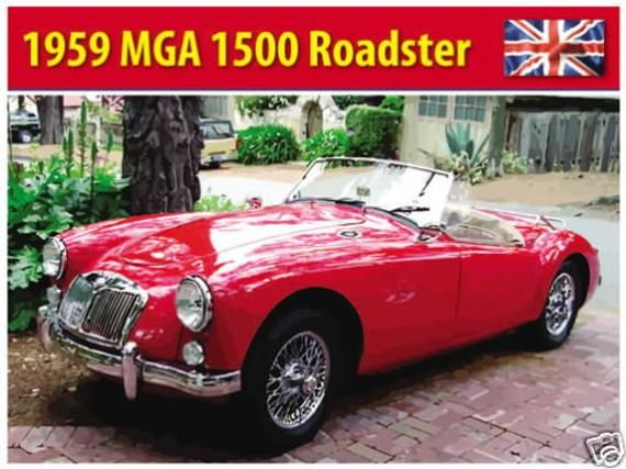 Picture Classic British Sports Car MG MGA Roadster 1959 Small Metal Tin Sign