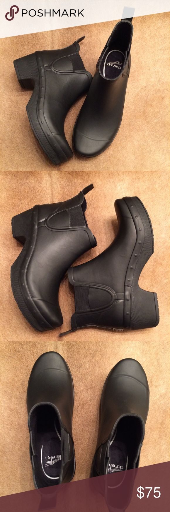 Dansko Rosa Rain Boot These boots are by the famous brand Dansko! They are solid black with all of the comfortable features that this brand is known for! Add these to your collection today! Dansko Shoes Winter & Rain Boots