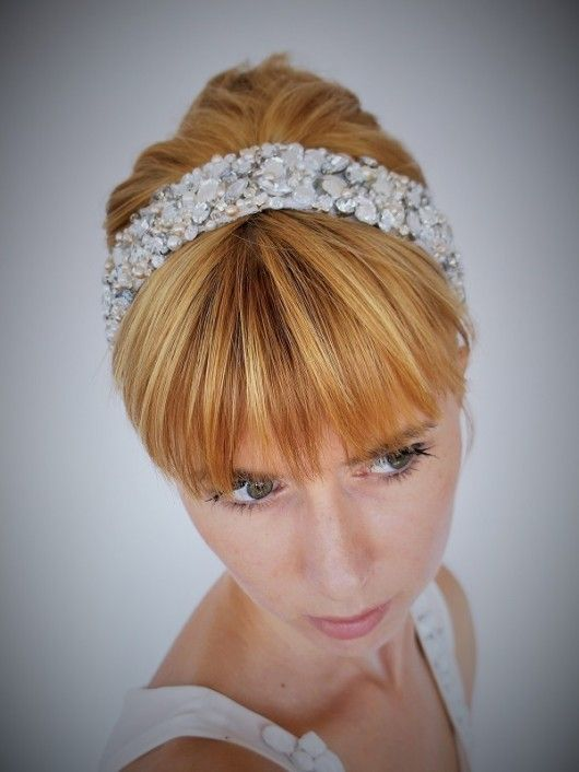 Ślubna opaska od PIU-PIU - bridal headband, vintage style, handmade, boho wedding, orginal, unique headpiece, retro, rhinestones
