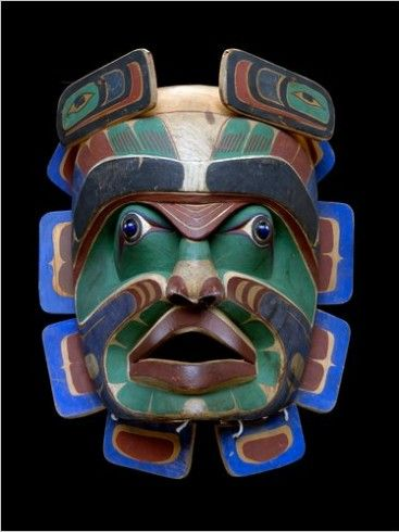 """Vancouver Island Tribe, circa 1900, potlatch dance mask, at the National Museum of the American Indian exhibition """"An Infiinity of Nations""""The National, Vancouver Islands, Pacific Coast, Indigenous People, North Pacific, American Indian, American Art, Stunning Masks, Ethnic Masks"""