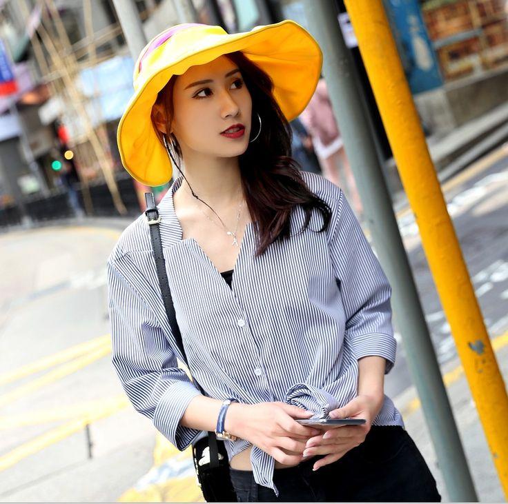 2017 Summer Women's Wide Brim Beach Sun Hat Fashion Chapeu Feminino Foldable Visor Cap Outdoor Anti-UV Cap