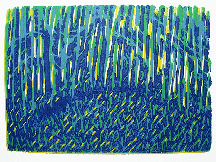 Bluebell Forest Night by ANGELA MAHER water based inks ~ 4 x 5.5