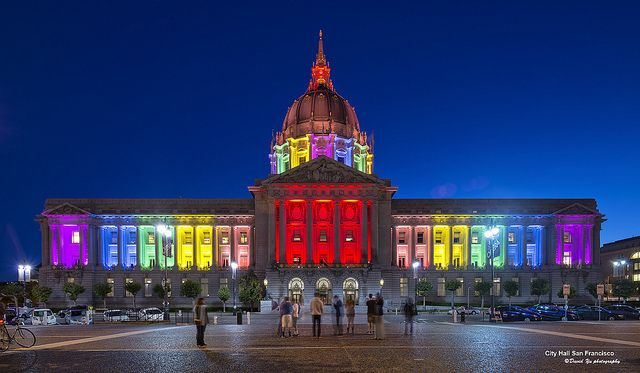 San Francisco city hall in celebration of supreme court decisions on DOMA and prop 8.