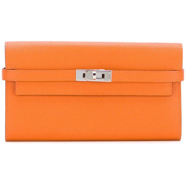 Hermès Vintage Kelly wallet (5,185 CAD) ❤ liked on Polyvore featuring bags, wallets, orange, hermes wallet, real leather wallets, leather wallets, lock wallet and vintage bags