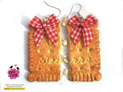 Boucles d'oreille grand biscuit LU