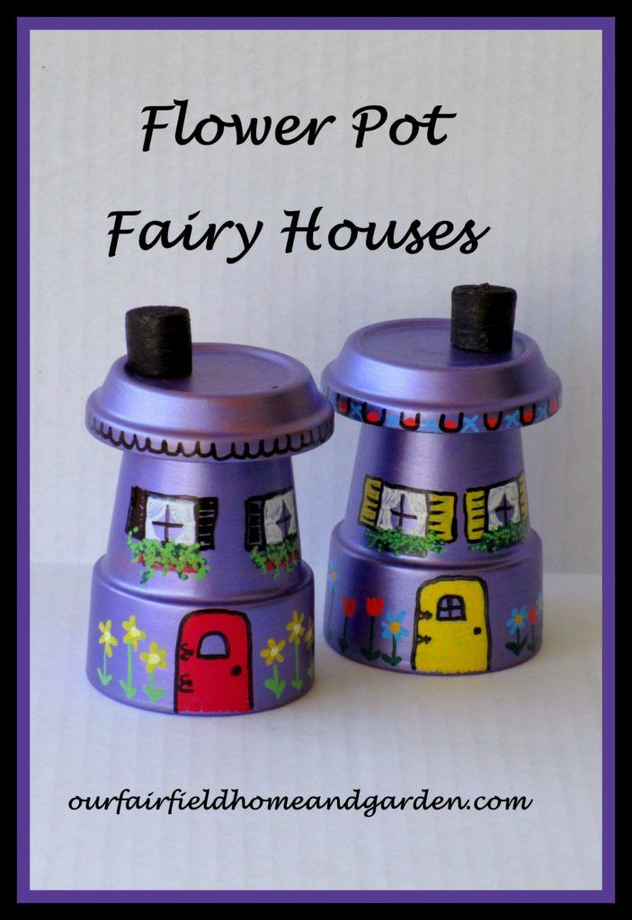 Flower Pot Fairy Houses ~ using Sharpie oil-based paint pens! Great for gifts, fundraisers or a child's party craft.
