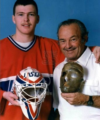 A young Martin Brodeur and his dad, official photographer for the Montreal Canadiens. #martin #brodeur #mask #laser #devils #denis #brodeur #dad #sainthyacinthe #rip