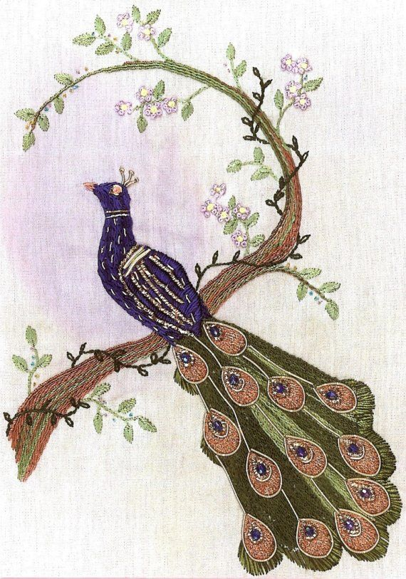 """Brazilian Embroidery Pattern - Peacock, """"Plumage extravaganza"""", instructional"""