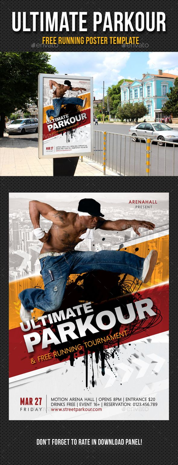 Ultimate Parkour Free Running Poster Template PSD. Download here: http://graphicriver.net/item/ultimate-parkour-free-running-poster-template-01/14454679?ref=ksioks