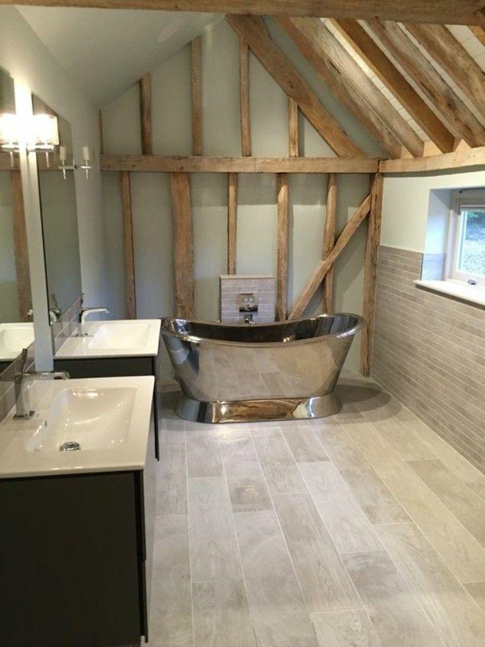 carrelage aspect bois salle de bain originale avec baignoire sabot with sabot salle de bain - Salle De Bain Originale Bois