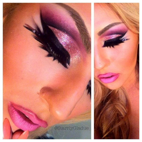 pink glitter cut crease beauty eye shadow make up sexy glam pretty cut crease barbie halloween costumemakeup for - Eyeshadow For Halloween