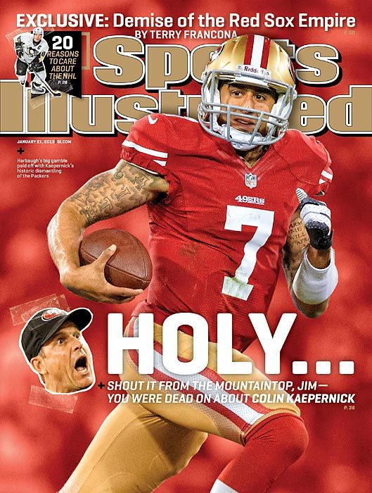 Sports Illustrated Magazine cover, 2013, featuring football player, Colin Kaepernick. To contact TWX Sports Illustrated Magazine Customer Service by Phone about your magazine subscription: 1- (877) 463-3032