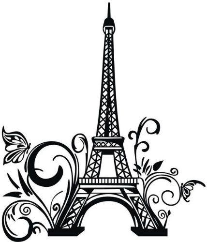 23 Inch W * 42 Inch H Romantic Wall Sticker Butterfly Eiffel Tower Pattern Art…