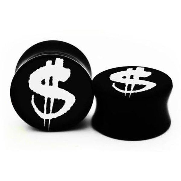 Dollar Sign Double Flare Acrylic Plugs in Black Tattoo Artist Design... ($42) ❤ liked on Polyvore featuring accessories, earrings and plugs