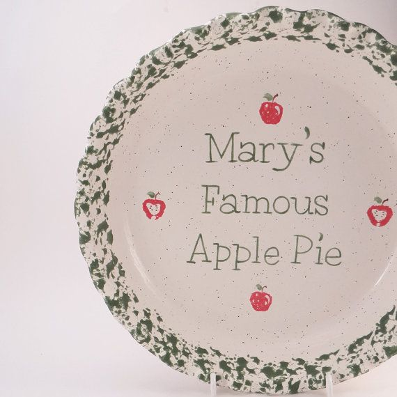 #ApplePieDish  #PersonalizedPiePlate  Ceramic Apple Pie Plate by #ThePigPen #mothersdaygift