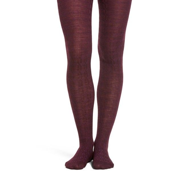 Women's Smartwool Cable Knit Tights ($47) ❤ liked on Polyvore featuring intimates, hosiery, tights, aubergine heather, cable knit stockings, cable knit tights, merino wool tights, smartwool tights and cable tights