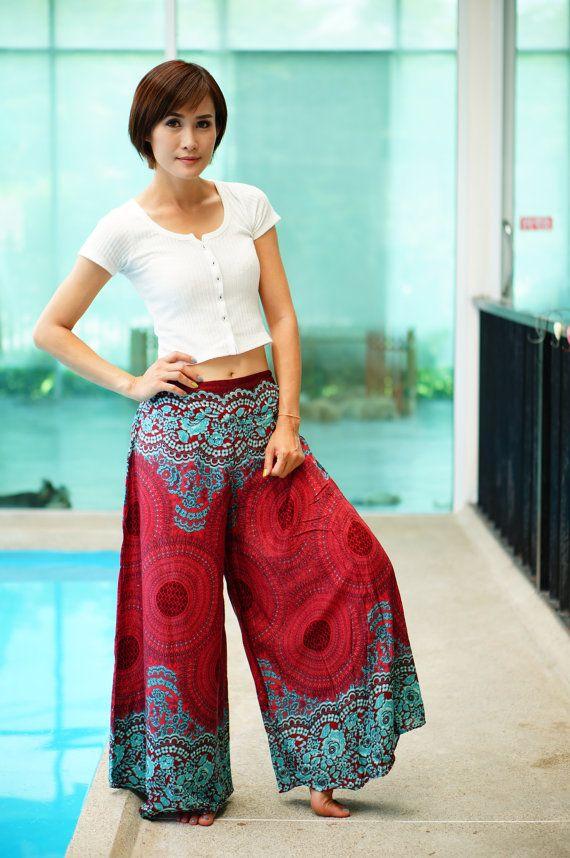 Floral breite Bein Palazzo-Stil Thai Hosen Viskose Hose von MaeYing