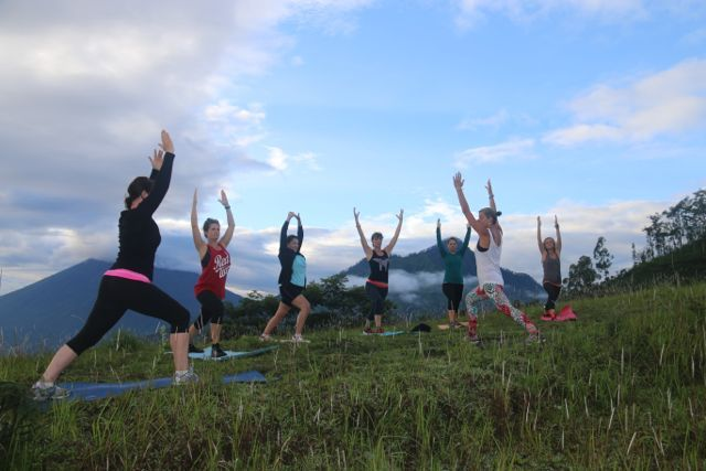 Taking our Fusion Flow Fitness session to great heights at our secret location in Bali. http://www.sharingbali.com/retreats/