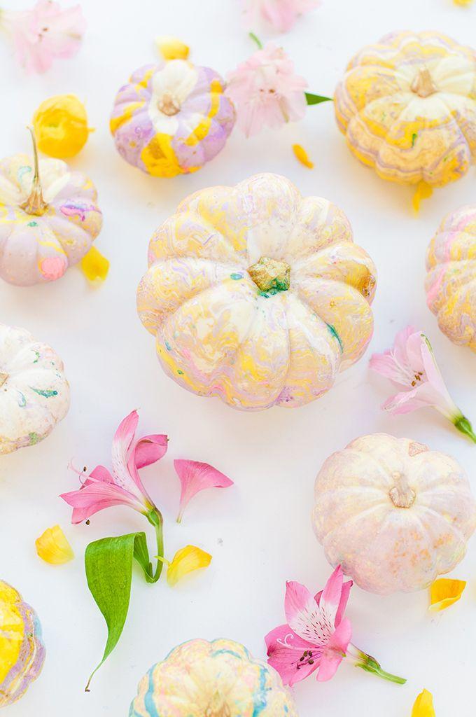 DIY Marbled Pumpkins