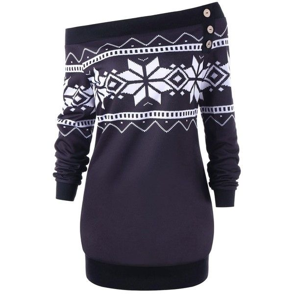 Plus Size Pullover Snowflake Geometric Skew Neck Sweatshirt ($20) ❤ liked on Polyvore featuring tops, hoodies, sweatshirts, pullover top, plus size tops, geometric sweatshirt, blue top and plus size pullover