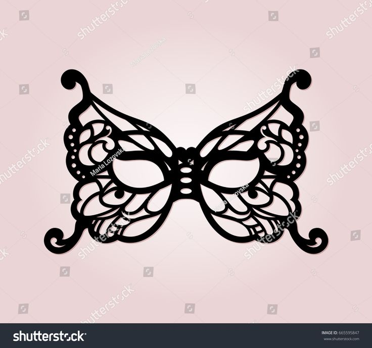 Masquerade mask with laser cut details. Venetian lacy butterfly filigree mask template for laser cutting and die cutting. Luxury dye cut bridal mask for fancy wedding.