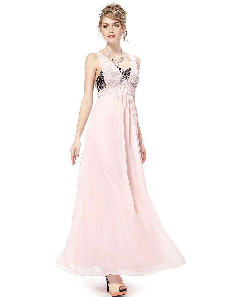 Ну вечеринку платья с тех довольно HE08031 сексуальный v-образным вырезом шифон розовый лето макси элегантный ну вечеринку платья для женщин 2015 Vestidos