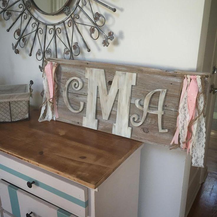 Barnwood sign for a babies nursery. Monogram barnwood sign. Shabby chic.