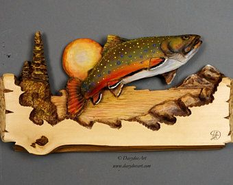 Trout Wood Carving,Brook Trout,Fish carved,Fishing Gift by Davydovart, Gift for Fisherman Wooden Sculpture Wall Art OOAK Carving Deco Rustic