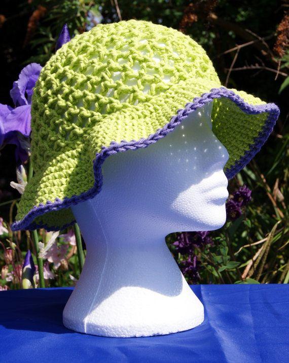"""Hand crochet cotton sun hat in """"Hot Green"""" with purple edging. Floppy sun hat with brim. Crochet hat. Cotton hat. Summer hat. Beach hat"""