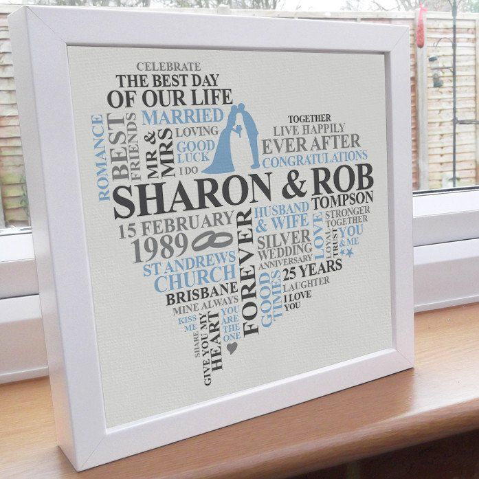 25th Anniversary frame. A personalised 25th anniversary gift which captures the special memories of the day.    This unique silver anniversary design is the perfect present for a happy couple celebrating 25 years together. Personalised with some words and colours of your choice.    The 25th anniversary gift is printed on high quality heavyweight paper. Presented in a 10x10 inch sealed frame.