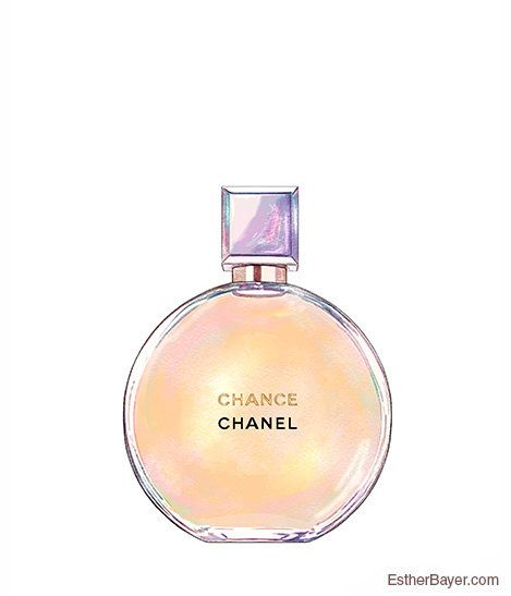 Chanel Chance Perfume Bottle Colorful Fashion Illustration Fine Art Print