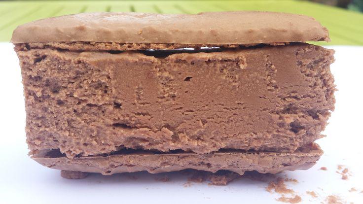 Dominican Milk Chocolate Semifreddo Macaron sandwich