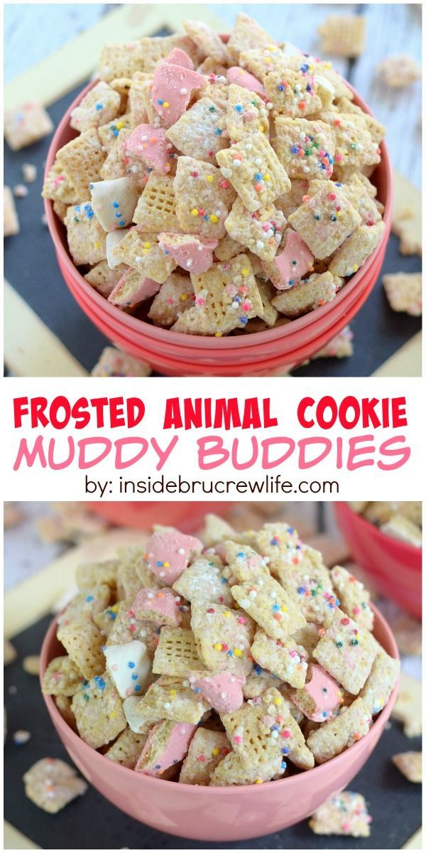 Crushed animal cookies and chocolate coat this easy muddy buddies snack mix.  It will disappear in a hurry!
